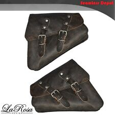 La Rosa HD Sportster Left & Right Saddlebags - 2004 UP Rustic Black Leather Bag