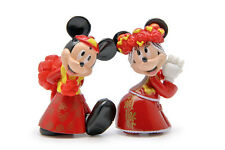 """Disney Mickey, Minnie Mouse Chinese Wedding Cake Topper (Set Of 2pc) 2-1/4"""" Tall"""