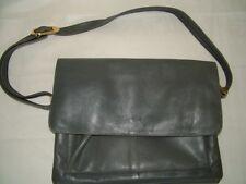 Vintage 70s 80s grey soft leather shoulder bag satchel messenger laptop bag