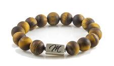 Matte Tiger eye gemstone bracelet large 12mm with sterling silver bead custom