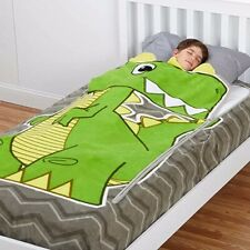 Zippy Sack Fleece Fitted Zip in Blanket-Dino, Twin Size, Green Dinosaur