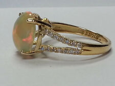 Opal and Diamond 18-K Yellow Gold Ring