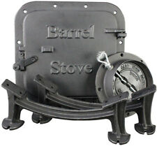 Barrel Stove Kit Door Leg Steel Drum Wood Heater Fireplace Converter Cast Iron