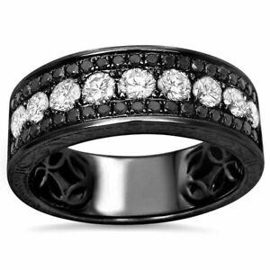 Men's 14K Black Gold Over 1.25 Ct White & Black Diamond Engagement Band Ring