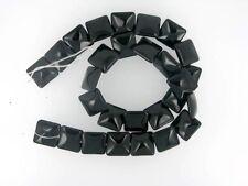 Black Onyx Puff Square Beads 14mm