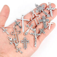 25Pcs Mixed Style Jesus Cross Alloy Charm Pendant Fit DIY Jewelry Craft Making