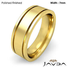 Flat Fit Plain High Polish Ring Men Wedding Solid Band 7mm 18k Yellow Gold 11.8g