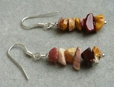 Beautiful MOOKAITE GEMSTONE CHIP earrings in SOLID 925 STERLING SILVER