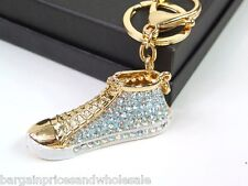 Baseball Boot Keyring Dangling Rhinestone Diamante Handbag Buckle Charm