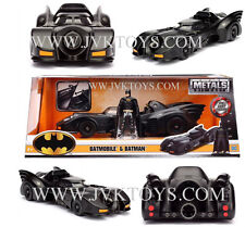 1989 Batman Batmobile Diecast Metal With Batman Figure 1/24 Scale By Jada 98260