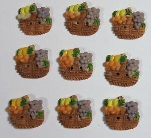 "Vtg JHB International Realistic Novelty Plastic Resin BUTTONS Fruit Basket 3/4"""