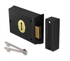 """Double Handed Rim Dead Lock Victorian Style Black Door Gate Shed Keys Inc 4"""""""