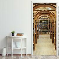 3D Library Bookshelf  Door Sticker Self-Adhesive Mural Room Wall Fridge Stickers