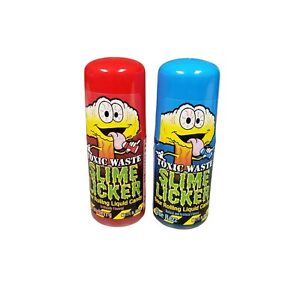 Toxic Waste Slime Licker 2 PACK Strawberry & Blue Razz Sour Rolling Liquid CANDY