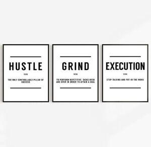 Hustle Grind Execution Set Of Three Office Prints