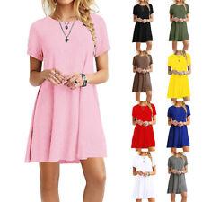 Summer Women Short Sleeve Midi Dress Crew Neck Casual Solid Loose Beach Sundress