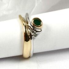 Ringe mit natürlichem Smaragd echten Edelsteinen aus mehrfarbigem Gold