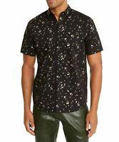 INC Mens Shirt Black Gold Size 2XL Confetti Metallic Foil Button Down $49 058
