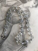 Vintage Art Deco Long Graduating Crystal Glass Faceted Bead Necklace