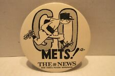 "1970's Go Mets The News 3 1/2"" Pinback Button Baseball New York Mets"
