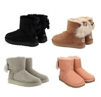 NEW Authentic UGG Women's Mini Fluff Bow Winter Boots Shoes Black Chestnut