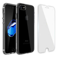 For iPhone 7/8/Plus/X Full Protect Tempered Glass Screen Cover+Crystal TPU Case