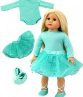 "Doll Clothes 18"" Gymnastic Ballerina Mint Green Slippers Fits 18"" AG Doll"