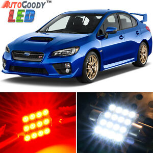 8 x Premium Red LED Lights Interior Package Kit for Subaru WRX STi 2004-2019