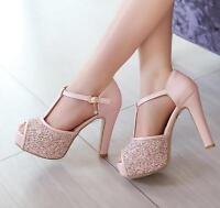2017 ladies Sequin Peep Toe Platform Block High Heels Wedding Party prom Shoes