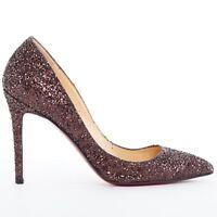 CHRISTIAN LOUBOUTIN So Kate 100 brown glitter point toe pigalle pump heels EU37
