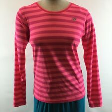 New Balance Women's Shirt Top Size Small Pink Striped Athletic Lightning Dry
