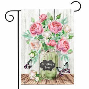 "Mother's Day Roses Garden Flag Mason Jar Floral 12.5"" x 18"" Briarwood Lane"