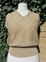 Mondi Vintage Ladies Beige Knitted Sleeveless Top Size 10