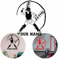Baseball Catcher Player Sports Personalized Name Or Number Vinyl Decal Wall Art