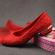 Womens Lace Floral Mary Jane Low Heels Pumps Wedding Bridal pregnant party Shoes