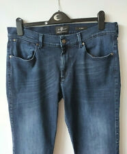 "Slimmy Jeans 7 For All Mankind Dark Blue Luxe Performance Straight 28"" L Size 34"