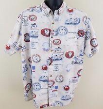 Global Tracking GPS Hawaiian Shirt Mens Size XL Reverse Print Fishing Nautical-J