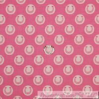 BonEful Fabric FQ Cotton Quilt VTG Pink Light Tone Horse Shoe Cow Girl Polka Dot