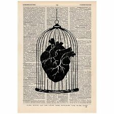 Heart in a Cage Dictionary Print OOAK Anatomy, Satirical, Art, Unique, Gift,