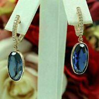 3 Ct Oval Cut Blue Sapphire & Diamond Drop Dangle Earrings 14k Yellow Gold Over