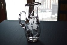 Silver Overlay & Etched Flowers & Leaves Glass Pitcher
