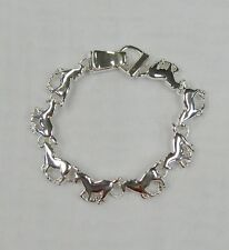 Silver Plated Horse Pony Stallion Charm Bracelet With Magnetic Clasp # 3484 New