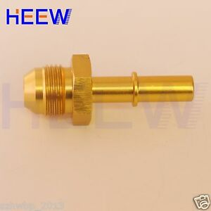 """AN6 6 -AN TUEL Rail 6 Adaptor 3/8"""" Male Quick Connect GM Fuel Hose Fitting Gold"""