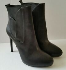 Charles David Black Leather High Heel Ankle Boots Women's 6.5 Slip-On Career EUC