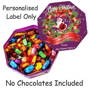 Personalised Chocolate LABEL ONLY for Quality Street Tub Christmas gift idea