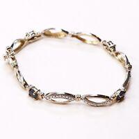 "7.25"", Gold Over Vermeil Sterling Silver Tennis Bracelet, 925 W/ Sapphire"