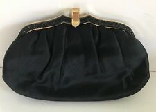 Vintage Judith Leiber Black Satin Clutch Evening Bag w/coin purse, comb, mirror