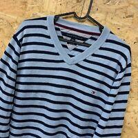 Tommy Hilfiger Men's Striped Blue V-Neck Jumper Sweater Size Large L