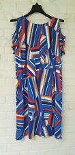 London Times Woman Geometric Stripe Cold Shoulder Dress Sz 14W