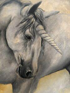 Unicorn original hand-painted acrylic painting on canvas